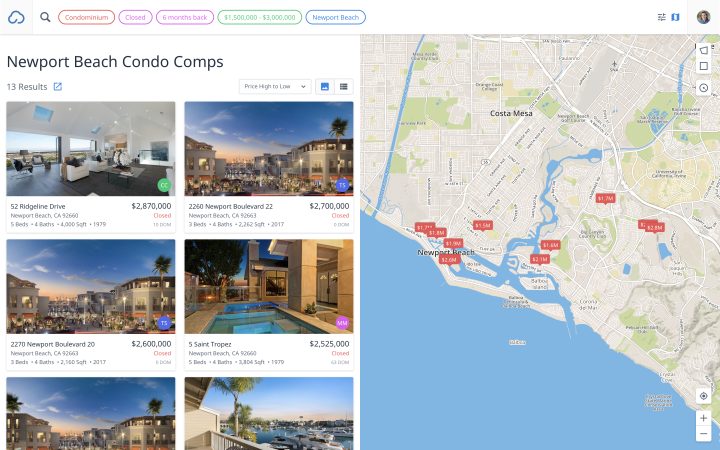 The MLX Search results view shows listing cards on the left and a map of listings on the right