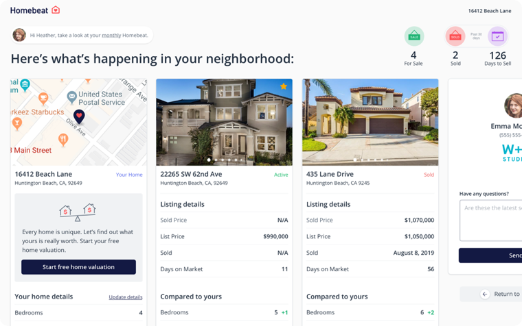 A preview of the Homebeat interface, showing comparable properties side-by-side