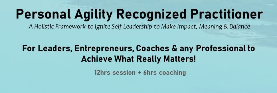 Personal Agility Recognized Practitioner Certification Training (LK)- Next Cohort- Dates yet to confirm