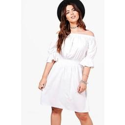 Plus Tia Schulterfreies Kleid Mit Rüschenärmeln