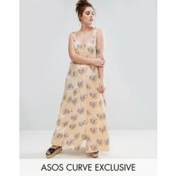 ASOS CURVE - Maxikleid mit überkreuzter Rückseite und Vintage-Blumenmuster - Mehrfarbig