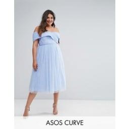 ASOS CURVE WEDDING - Schulterfreies Skaterkleid in Midilänge aus Tüll - Blau