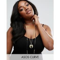 ASOS CURVE - Kurze Halskette mit Stoßzahnanhänger - Schwarz