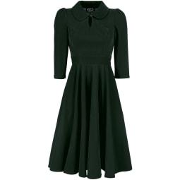 H&R London Glamorous Velvet Tea Dress Kleid dunkelgrün