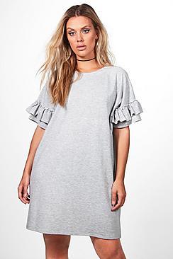 Plus Katy T-Shirt-Kleid mit Volant