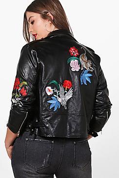 Plus Emily Bestickte Jacke aus PU
