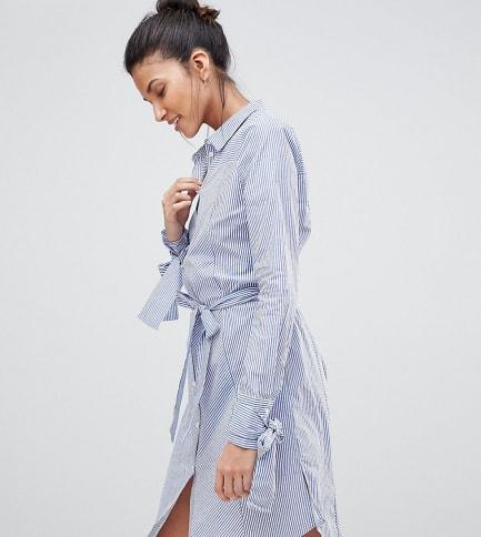 Y.A.S Tall - Hemdkleid mit Bindeärmeln - Blau