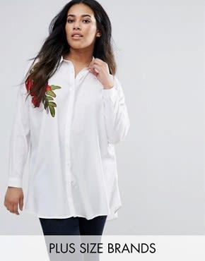 AX Paris Plus - Hemd mit Stickerei - Weiß