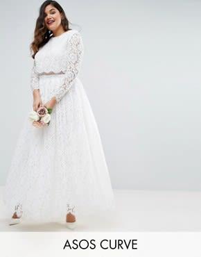 ASOS CURVE - BRIDAL - Langärmliges Maxi-Ballkleid aus Spitze - Weiß