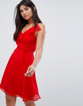 Zibi London - Skaterkleid mi Gürtel und Rüschenverzierung - Rot