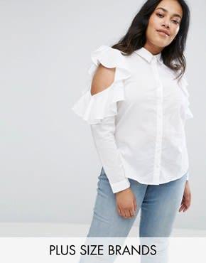Influence Plus - Schulterfreie Bluse mit Rüschen - Weiß