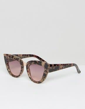 ASOS - Flache Katzenaugenbrille mit zweifachem Nasensteg - Braun