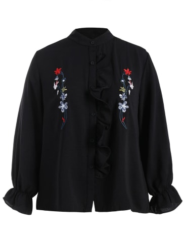 Floral Embroidered Flounce Shirt