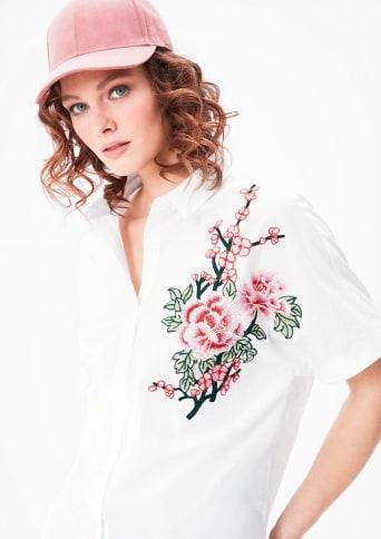 TRIANGLE Bluse mit Blumen-Applikation