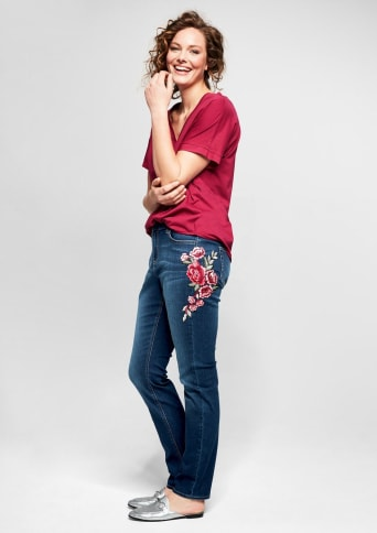 TRIANGLE Curvy: Jeans mit Embroidery