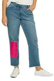 Ulla Popken 7/8-Jeans, pink Patch, Straight Fit, 5-Pocket, Studio Untold - Große Größen