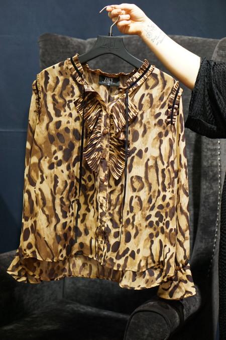 Bluse mit Leo-Print und Volants