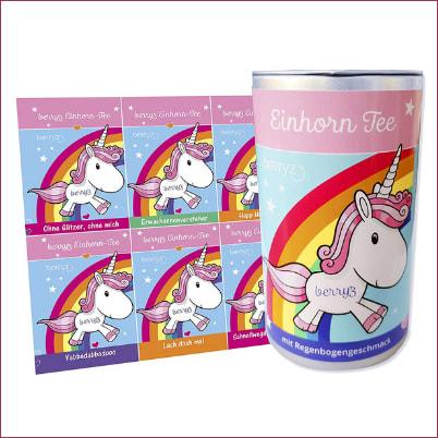 Einhorn-Tee mit 8 lustigen Stickern von amazon
