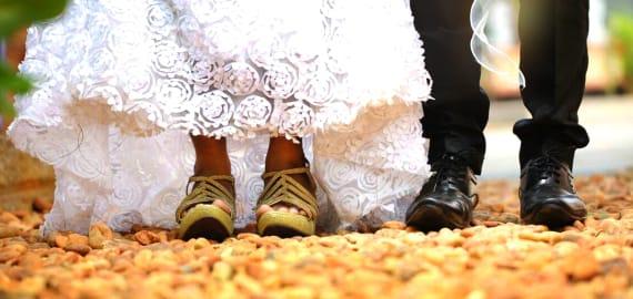 Flache Brautschuhe für Brautkleid große Größen