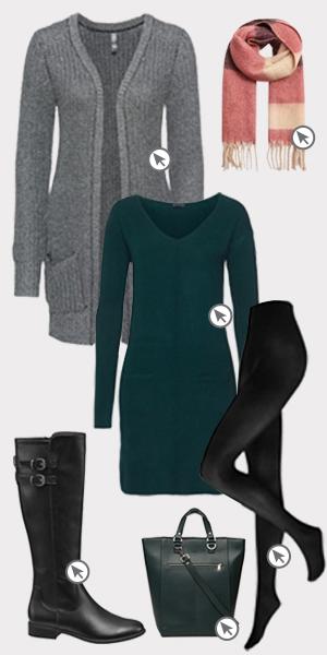 Longpullover große Größen_Lookbild mit Kleid