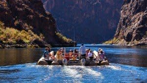 river rafting adventure tour group on Colorado River