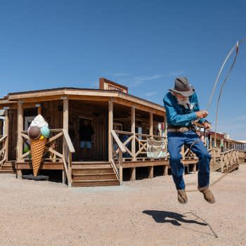 GRAND CANYON WEST RIM HOTEL CABIN STAY HUALAPAI RANCH ROPE TRICKS
