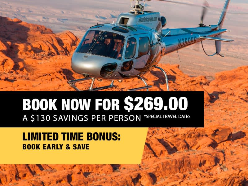LAST MINUTE GRAND CANYON HELICOPTER SUPER SAVER AIR TOUR FLIGHT - $269.00