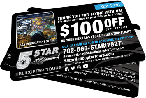 5 star Grand Canyon Helicopter Tours Gift cards