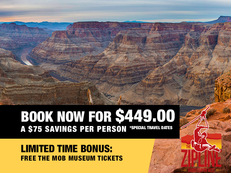 Grand Canyon Helicopter Adventure Landing Tour Retail Package Value $499.00 Book now from $449.00 Grand Canyon Zipline Available