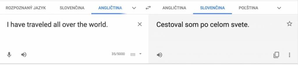 Present perfect preklad z googlu