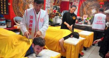 Body massage with the wrath in the knife