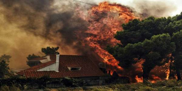 Greek Wildfire Kills at Least 50 Near Athens and Injured More Than 150, Residents Flee Homes
