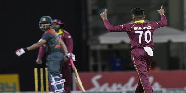 today West Indies beat Bangladesh by three runs in the second one-day international to level the three-match series at 1-1