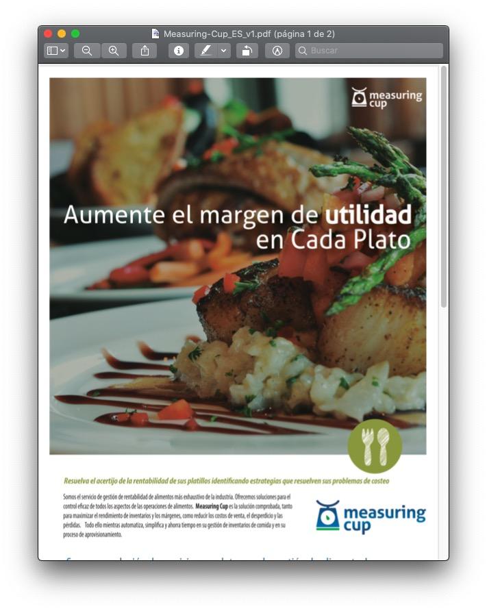 Viñeta del aspecto del brochure del software para inventario de alimentos