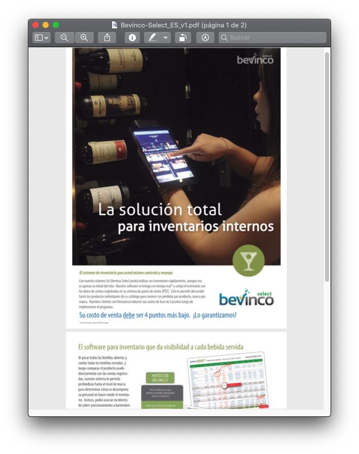 Viñeta del aspecto del brochure del software para inventario de bebidas
