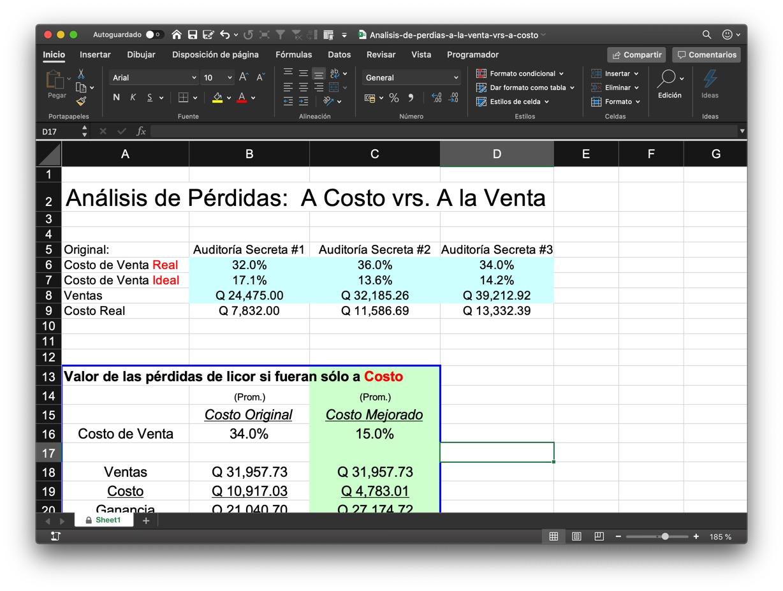 Viñeta del aspecto del libro de Excel abierto
