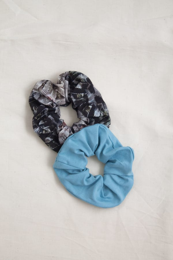 Hair Scrunchies 2PACK Sky Blue and Marble