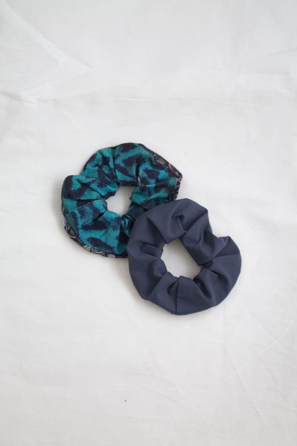 Hair Scrunchies 2PACK Graphite and Emerald