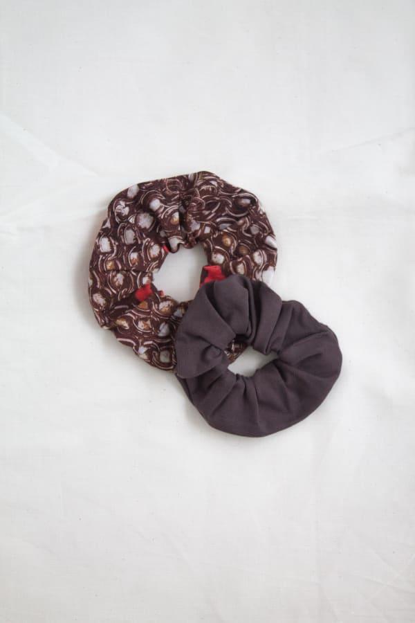 Hair Scrunchies 2PACK Cocoa and Mocha