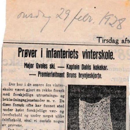 1928: Norwegian newspaper, Aftenposten, writes about a test of Brun's string vest
