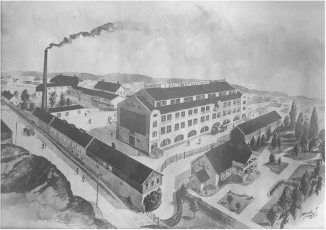 1887: Jacob Jacobsen settles in the town of Larvik, Norway