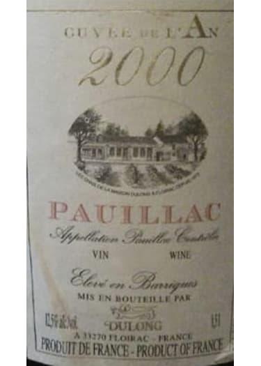 Pauillac Cuvée de l'An   Dulong Frères et Fils 2000 – 1.5L