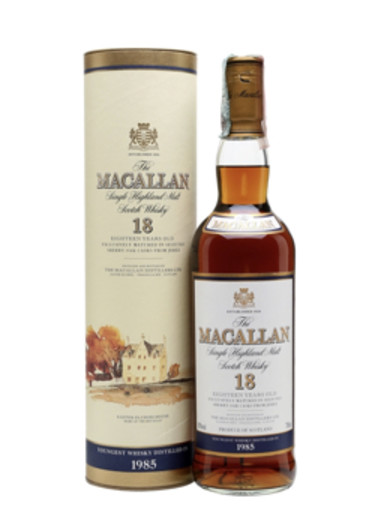 Highland Single Malt Scotch Whisky 18 ans d'âge The Macallan 1985 – 700mL