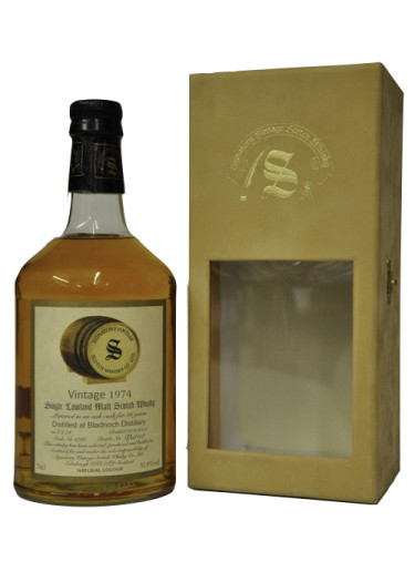 Lowland Single Malt Scotch Whisky Signatory Vintage 26 years Bladnoch 1974 – 700mL