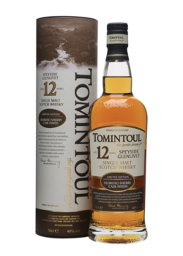 Highland Single Malt Scotch Whisky 12 years  Tomintoul – 700mL