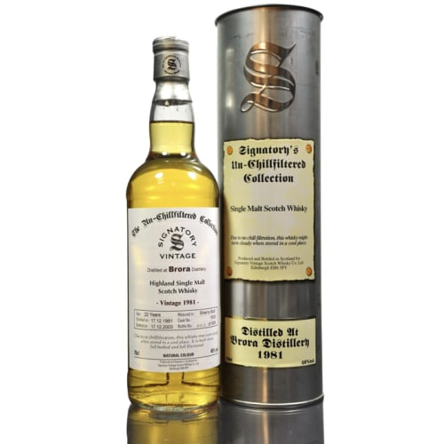 Single Malt Scotch Whisky The Un-Chillfiltered Collection Signatory Vintage 22 years  Brora 1981 – 700mL