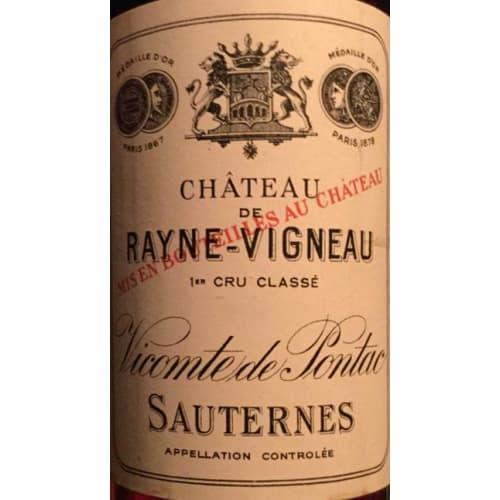 Sauternes 1er grand cru classé Château de Rayne Vigneau 1908 – 750mL