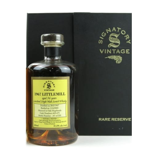 Lowland Single Malt Scotch Whisky Signatory Vintage 36 years Littlemill 1967 – 500mL