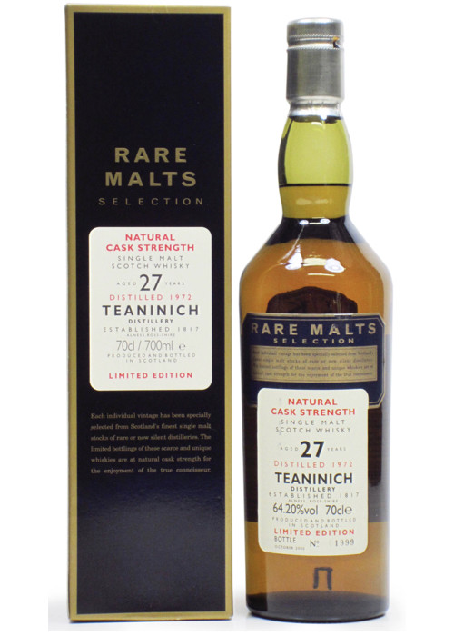 Single Malt Scotch Whisky Natural Cask Strength Rare Malts Selection 27 years Teaninich 1972 – 700mL