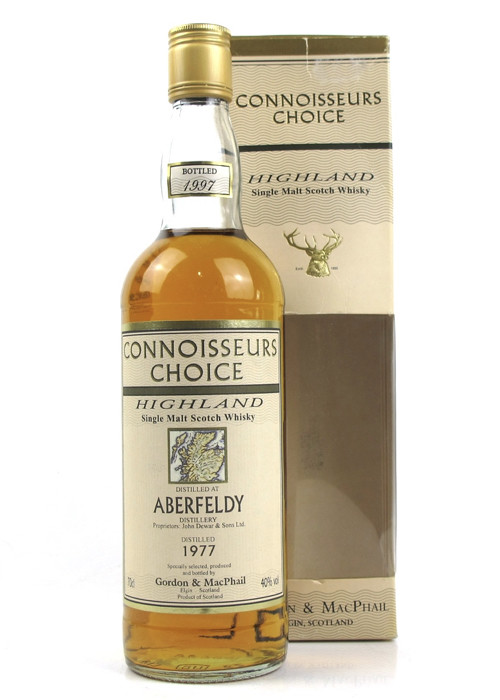 Highlands Single Malt Scotch Whisky Aberfeldy Connoisseurs Choice  Gordon & Mac Phail 1977 – 700mL